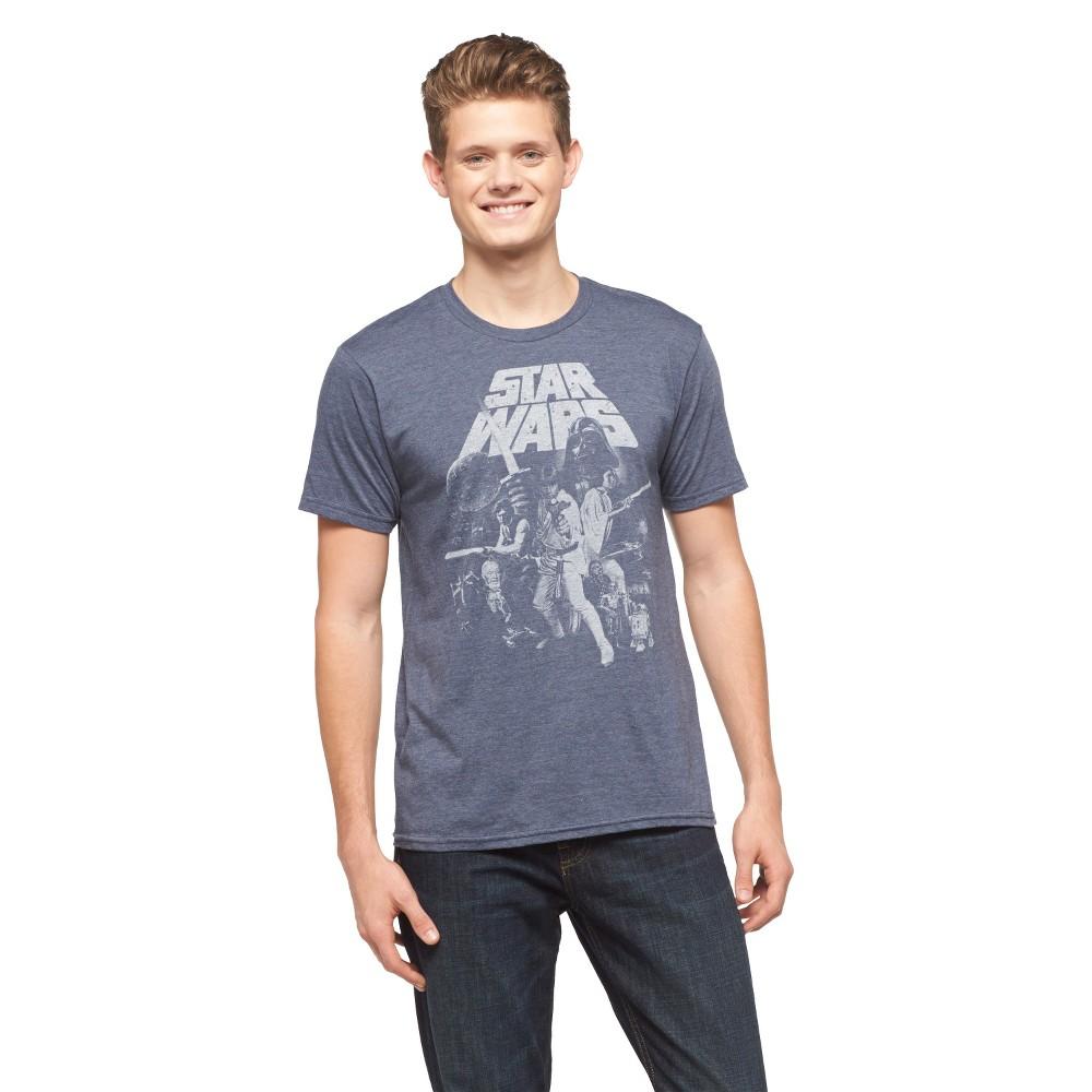 Men's Star Wars Short Sleeve Graphic T-Shirt Denim Heather XL, Blue