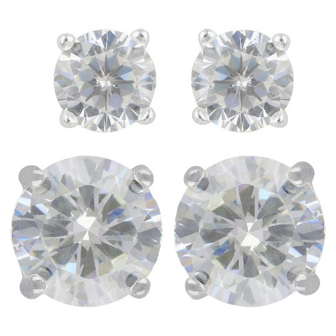 Women's Sterling Silver Stud Earrings Set of 2 Round 5MM/8MM Cubic Zirconia 2pc- A New Day™ Silver/Clear - image 1 of 1