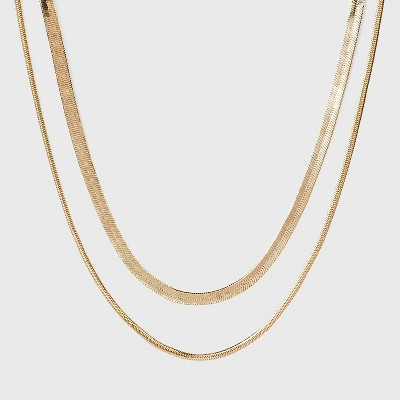Snake Chain Necklace Set 2pc - A New Day™ Gold