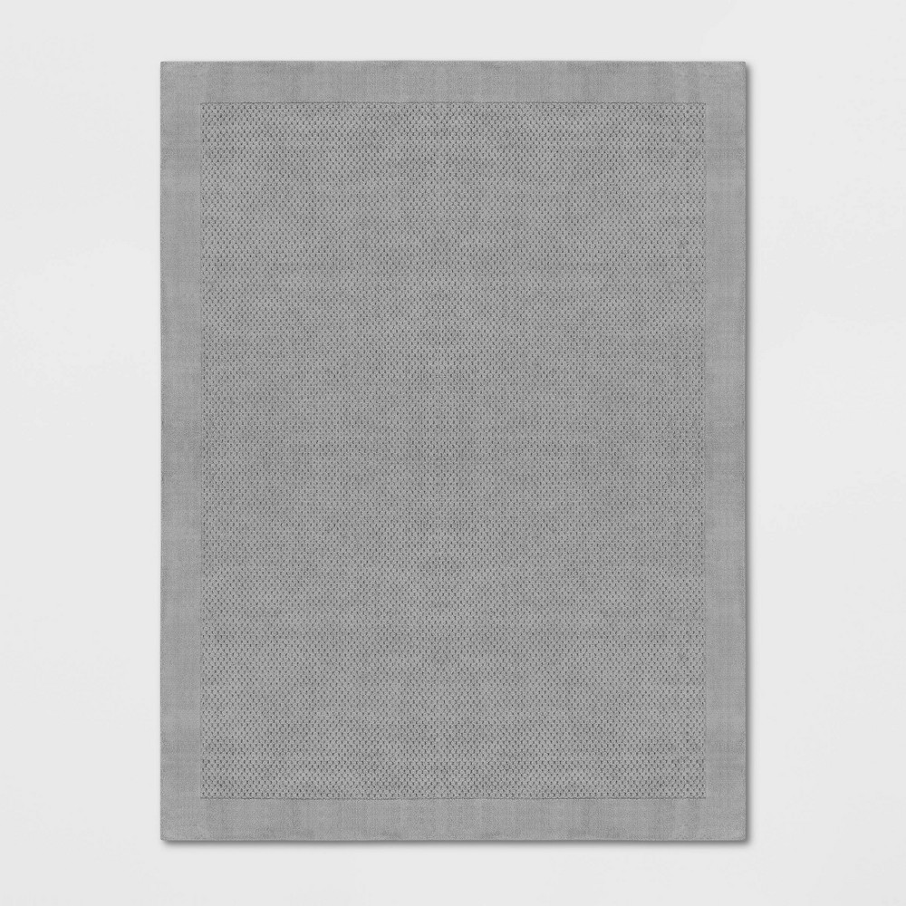 Image of 9'X12' Basket Weave Solid Tufted Area Rug Light Gray - Made By Design