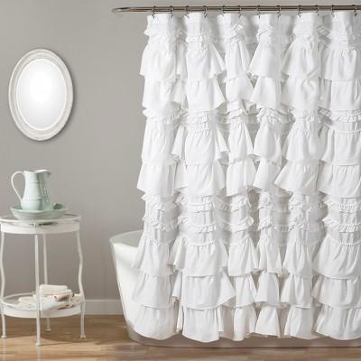 Kemmy Shower Curtain White - Lush Décor
