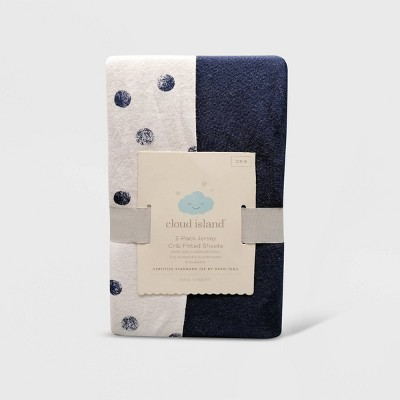 Fitted Crib Jersey Sheet Dots and Solid Navy Blue - Cloud Island™ Navy 2pk
