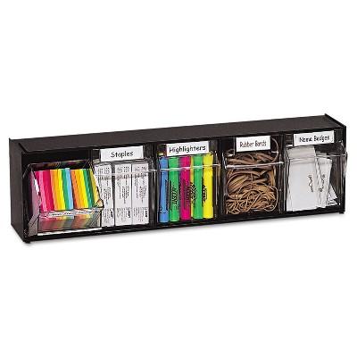 Deflecto Tilt Bin Plastic Storage System w/5 Bins 23 5/8 x 5 1/4 x 6 1/2 Black 20504OP