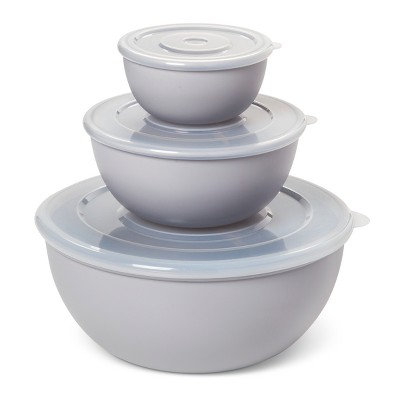Plastic 3pc Bowl Set with Lid Silver - Room Essentials™