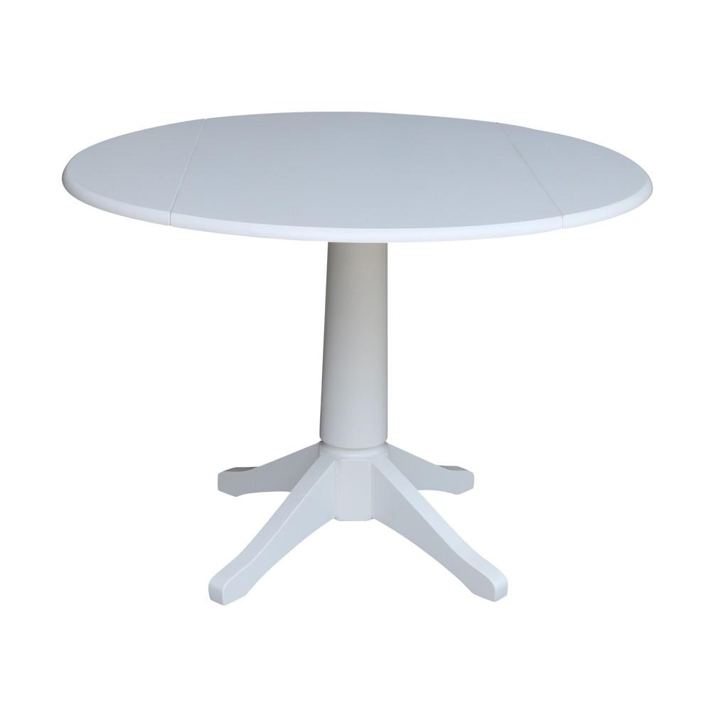 42 Nina Round Top Dual Drop Leaf Pedestal Table White - International Concepts