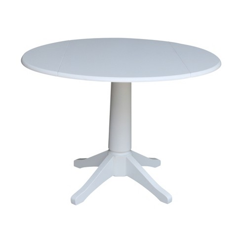 "42"" Nina Round Top Dual Drop Leaf Pedestal Table White - International Concepts - image 1 of 4"