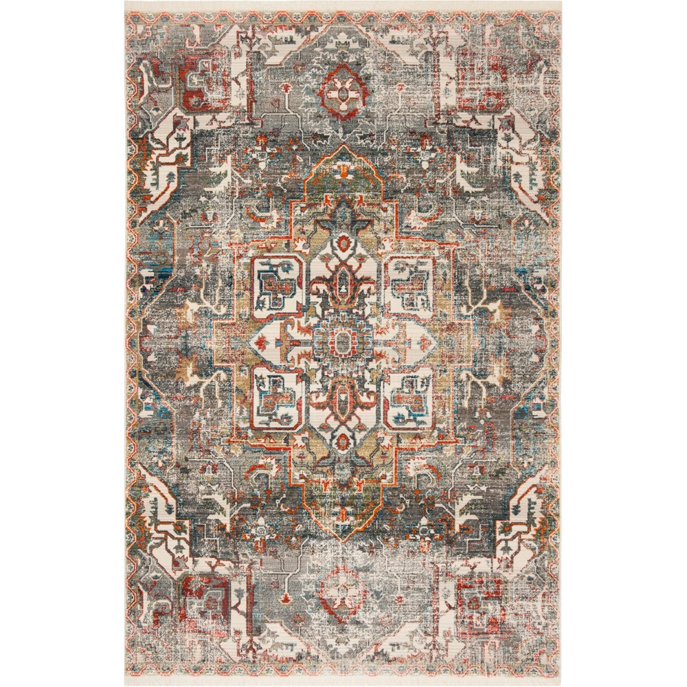6'X9' Medallion Loomed Area Rug Charcoal/Olive - Safavieh, Gray