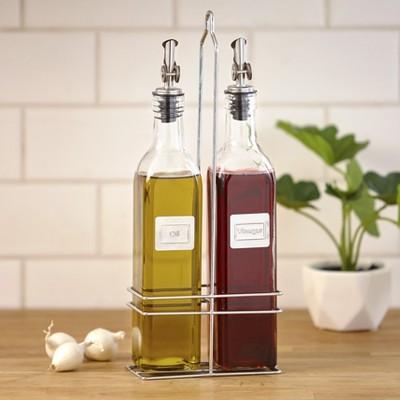 Lakeside Oil and Vinegar Caddy Cruet Bottle Set with Metal Pour Spout - 3 Pieces