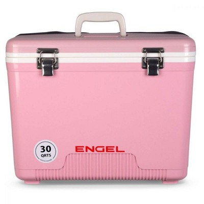 Engel 30-Quart 48 Can Portable Leak-Proof Compact Lightweight Insulated Airtight Hard Drybox Cooler for Fishing, Hunting, and Camping, Pink