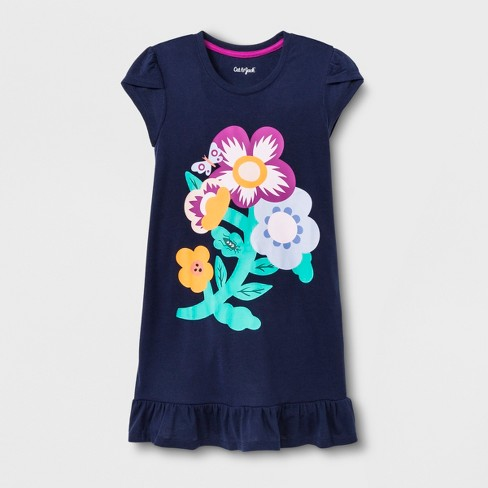 Girls' Flower Nightgown - Cat & Jack™ Blue - image 1 of 1