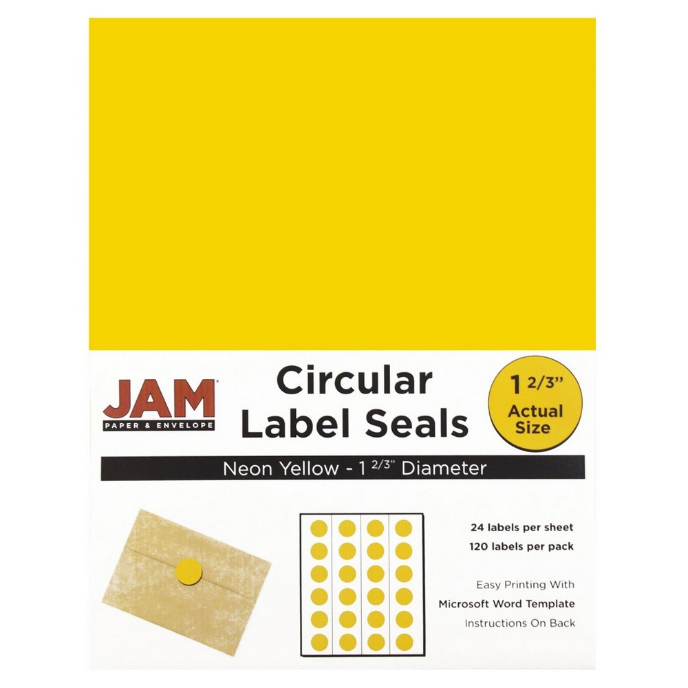 Jam Paper Circle Sticker Seals 1 2/3 120ct - Neon Yellow Jam Paper Round Circle Label Sticker Seals measure 1 2/3 inches in diameter and are sold on sheets of 24 labels. Each pack contains 5 sheets for a total of 120 labels per pack! These labels feature a light, soft, and inviting baby blue color that will give a peaceful and calm look to your mail. These labels are great for reinforcing envelopes, creating small price tags for yard sales, marking mail or items with initials, and more! Compatible with most printers, these labels can be customized in your own office or home. Additionally, they are easy to write on with most kinds of pens and markers. Try these round labels for your home or office needs. Color: Yellow. Age Group: Adult.