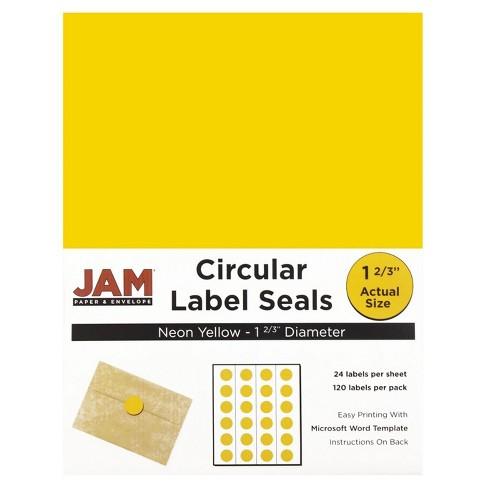"JAM Paper® Circle Sticker Seals 1 2/3"" 120ct - Neon Yellow - image 1 of 4"