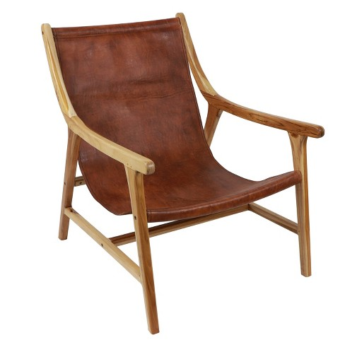 Fine Leather Sling Chair Brown Dcor Therapy Uwap Interior Chair Design Uwaporg