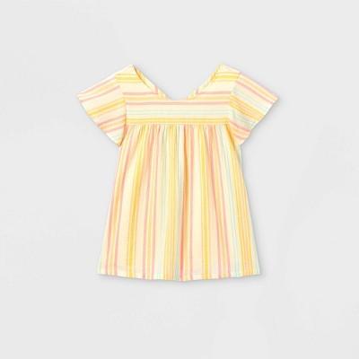 Girls' Striped Short Sleeve Woven Top - Cat & Jack™ Cream