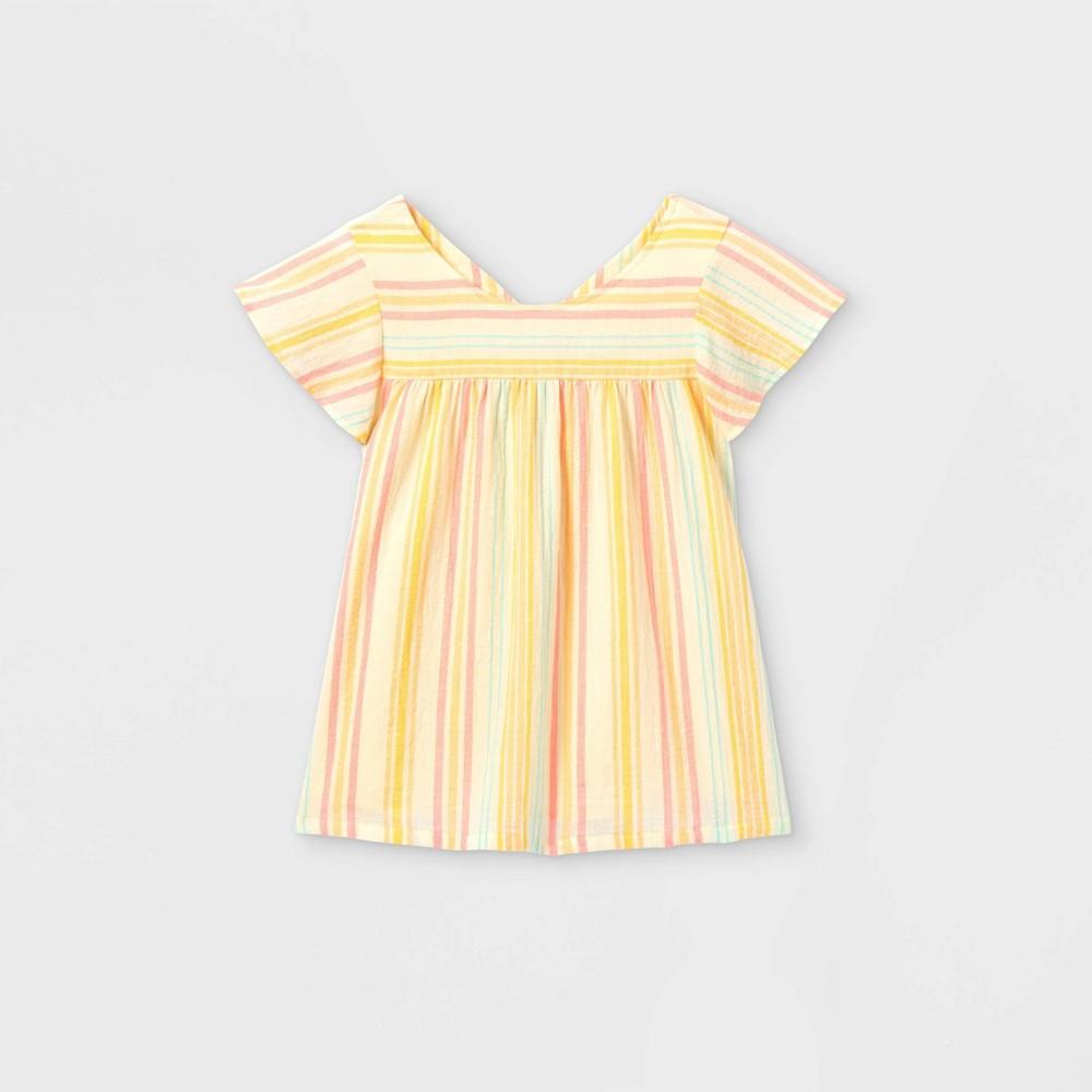 Girls 39 Striped Short Sleeve Woven Top Cat 38 Jack 8482 Cream Xs