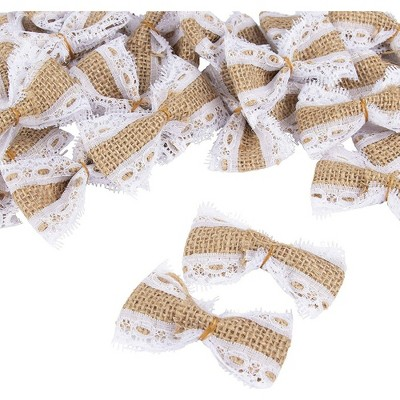 "Juvale 24-Piece Lace Burlap Bow, DIY Arts and Crafts for Home, Weddings, Scrapbooking, 2.75""x1.62""x0.5"""