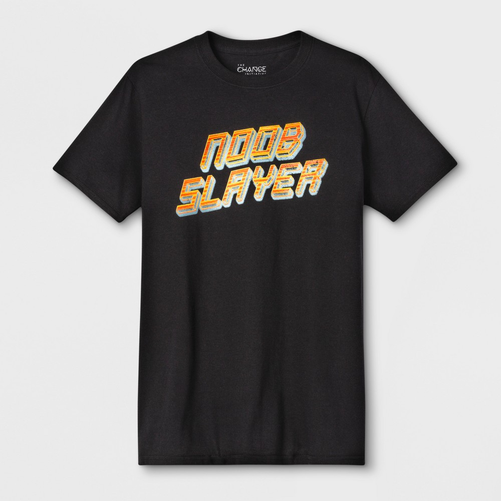 Men's Short Sleeve Noob Slayer Crew Graphic T-Shirt - Black XL