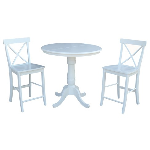 36 3pc Set Carla Round Extension Dining Table With 2 X Back Stools White International Concepts Target