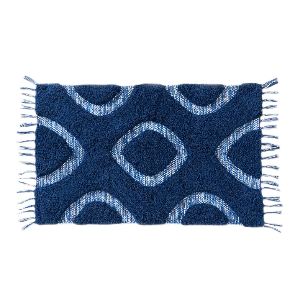 "Image of ""20"""" x 30"""" Kali Diamonds bath rugs and mats Midnight Blue - Saturday Knight Ltd."""
