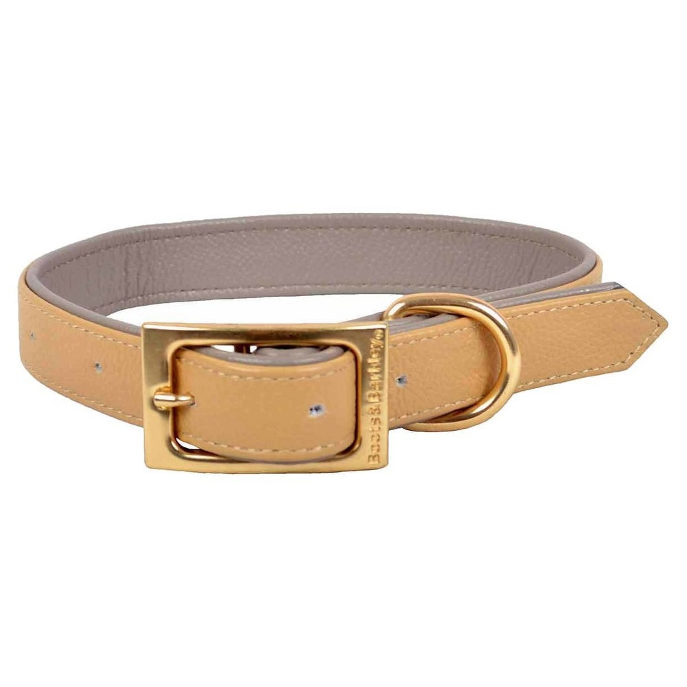 Flat Leather Dog Collar - L - Caramel - Boots & Barkley, Brown