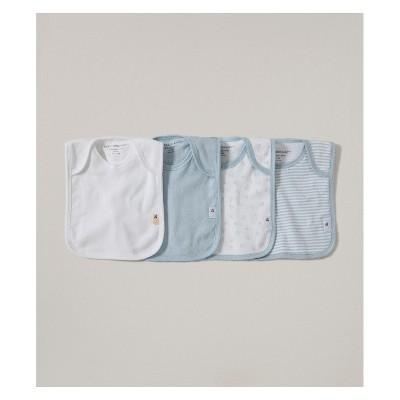 Burt's Bees Baby Organic Cotton 4pk Lap Shoulder Bibs - Sky One Size