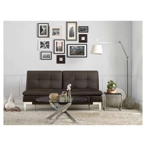 08a8a493c9b6a3 Venetia Bonded Leather Convertible Sofa In Java With Tan Baseball Stitching  - Serta   Target