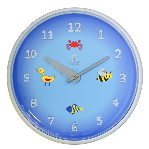 """Chicago Lighthouse 12.75""""x1.5"""" Blue Planet Children's Wall Clock Decorative Wall Clocks White - image 1 of 3"""
