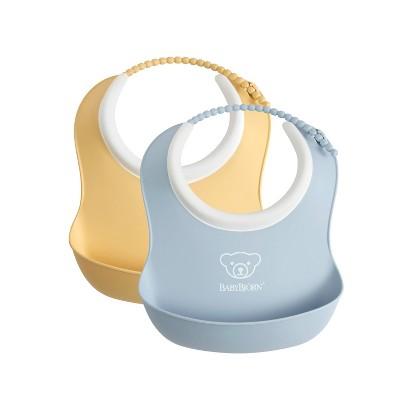 BabyBjorn 2pk Baby Bib Set - Powder Yellow/Blue S