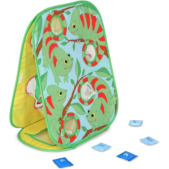 Melissa & Doug Sunny Patch Verdie Chameleon Double-Sided Bean Bag Toss Game With 8 Bean Bags, Kids Unisex image number null