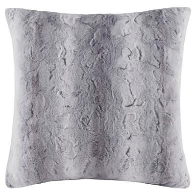 Gray Marselle Faux Fur Throw Pillow (25 x25 )
