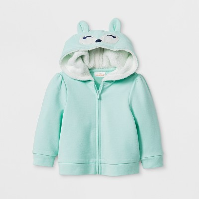 Baby Girls' Fox Hoodie Jacket - Cat & Jack™ Green 18M