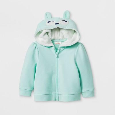 Baby Girls' Fox Hoodie Jacket - Cat & Jack™ Green Newborn