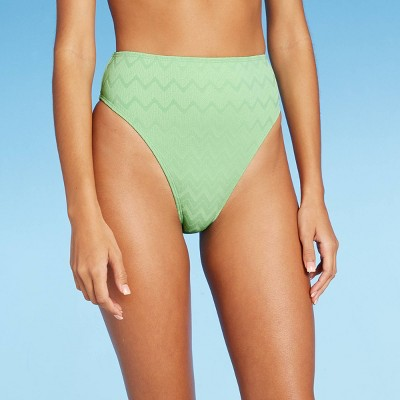 Juniors' Textured High Leg High Waist Bikini Bottom - Xhilaration™ Pistachio