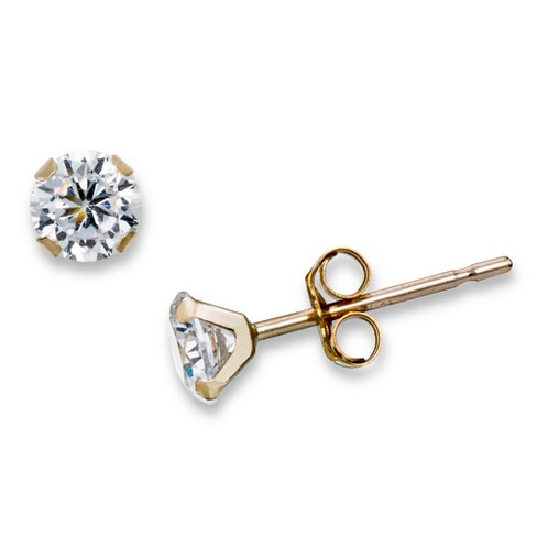"Cubic Zirconia Round ""Martini"" Stud Earrings in 10k Yellow Gold (4mm) - image 1 of 1"