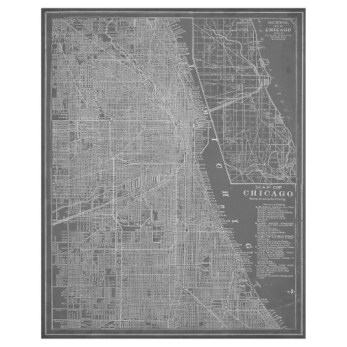 Chicago Map Canvas.City Map Of Chicago Unframed Wall Canvas Art 24x30 Target