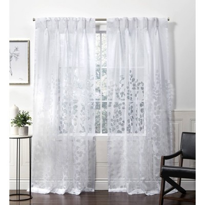 Wilshire Pinch Pleated Sheer Window Curtain Panels White - Exclusive Home