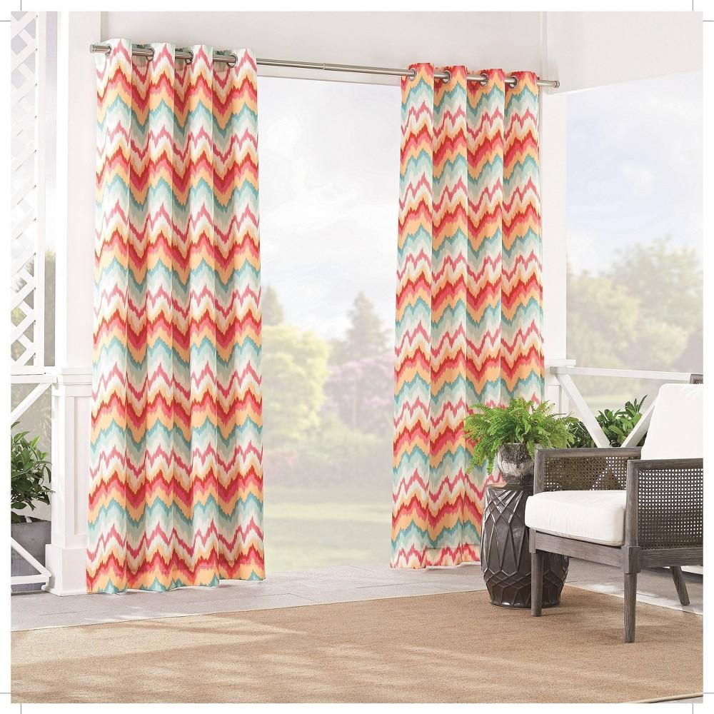 "Image of ""84""""x52"""" Borderline Light Filtering Curtain Panel Orange - Waverly Sun n Shade"""