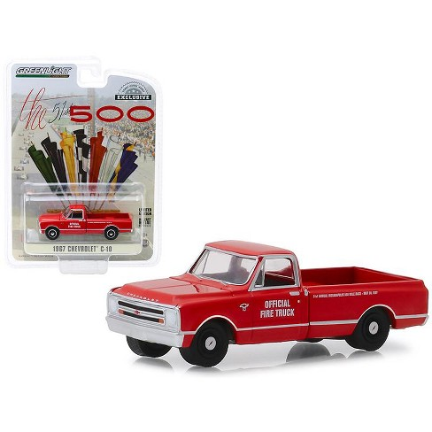 """1967 Chevrolet C-10 Fire Pickup Truck Red """"51th Annual Indianapolis 500 Mile Race"""" 1/64 Diecast Model Car by Greenlight - image 1 of 1"""