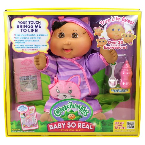 "Cabbage Patch Kids 14"" Baby So Real - African American with Brown Eyes and Kitty Fashion - image 1 of 4"