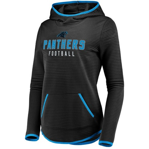 a022b1187 Carolina Panthers Women s Linear Hood Black Scuba Neck Hoodie L   Target