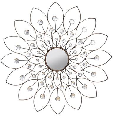 """34"""" Decorative Flower Mirror Bronze - Stratton Home Décor"""