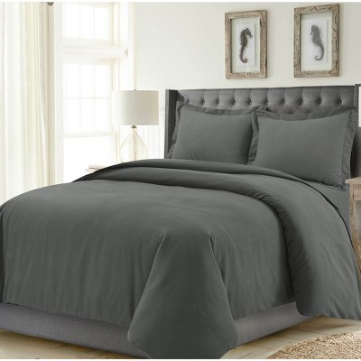 3pc Queen Madrid Solid Oversized Duvet Cover Set Steel Gray - Tribeca Living
