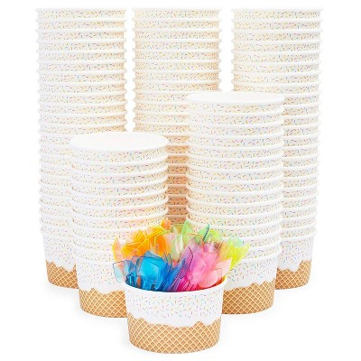 Blue Panda 100 Pack Disposable Party Paper Bowls, Dessert Ice Cream Cups with Neon Plastic Spoons 8 oz Party Supplies