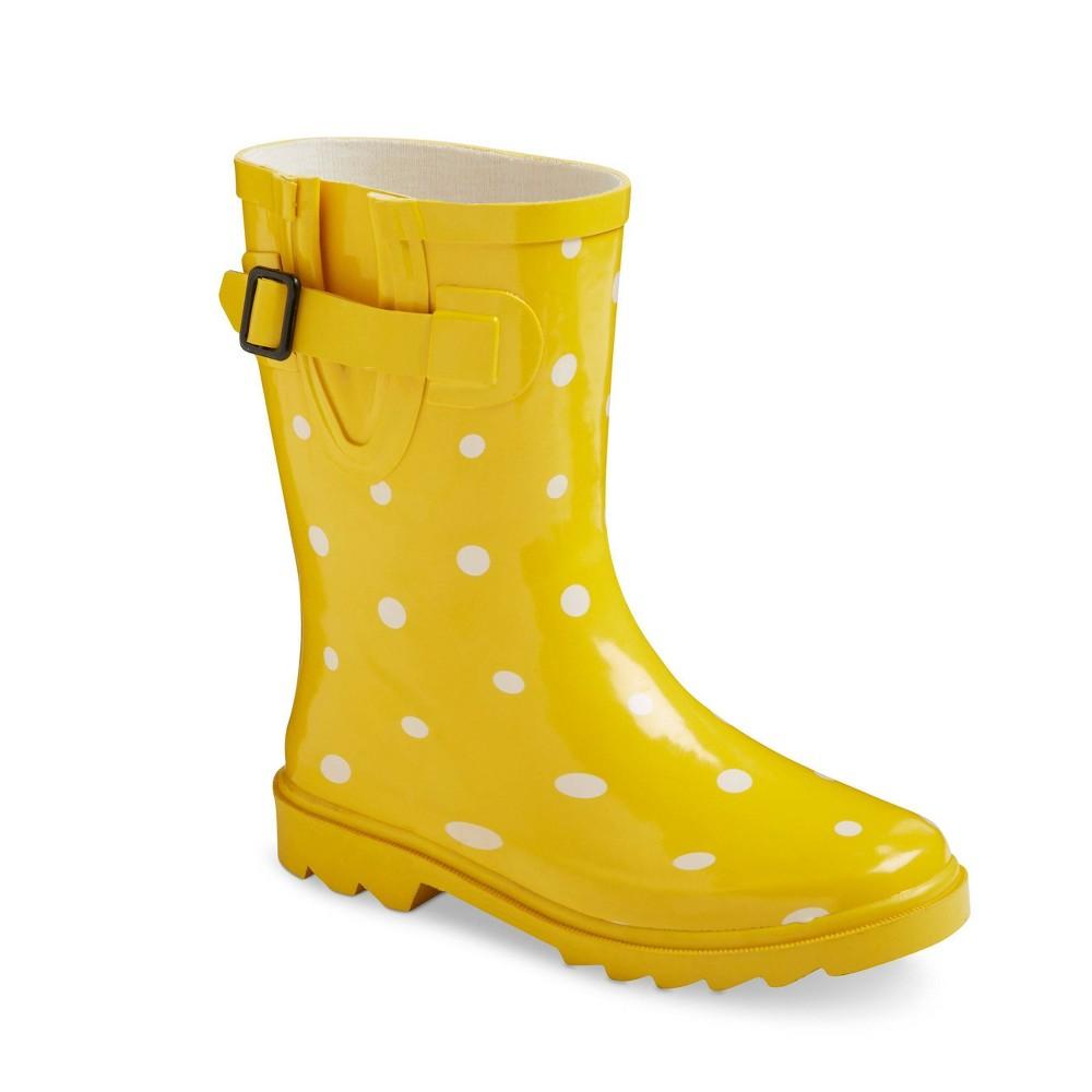 Girls Novel Dot Rain Boot Yellow 1