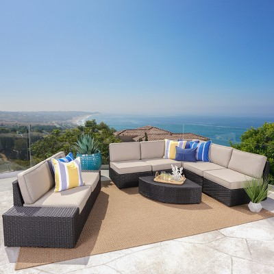 Attirant Santa Cruz 8pc Wicker Sectional With Water Resistant Cushions   Christopher  Knight Home : Target