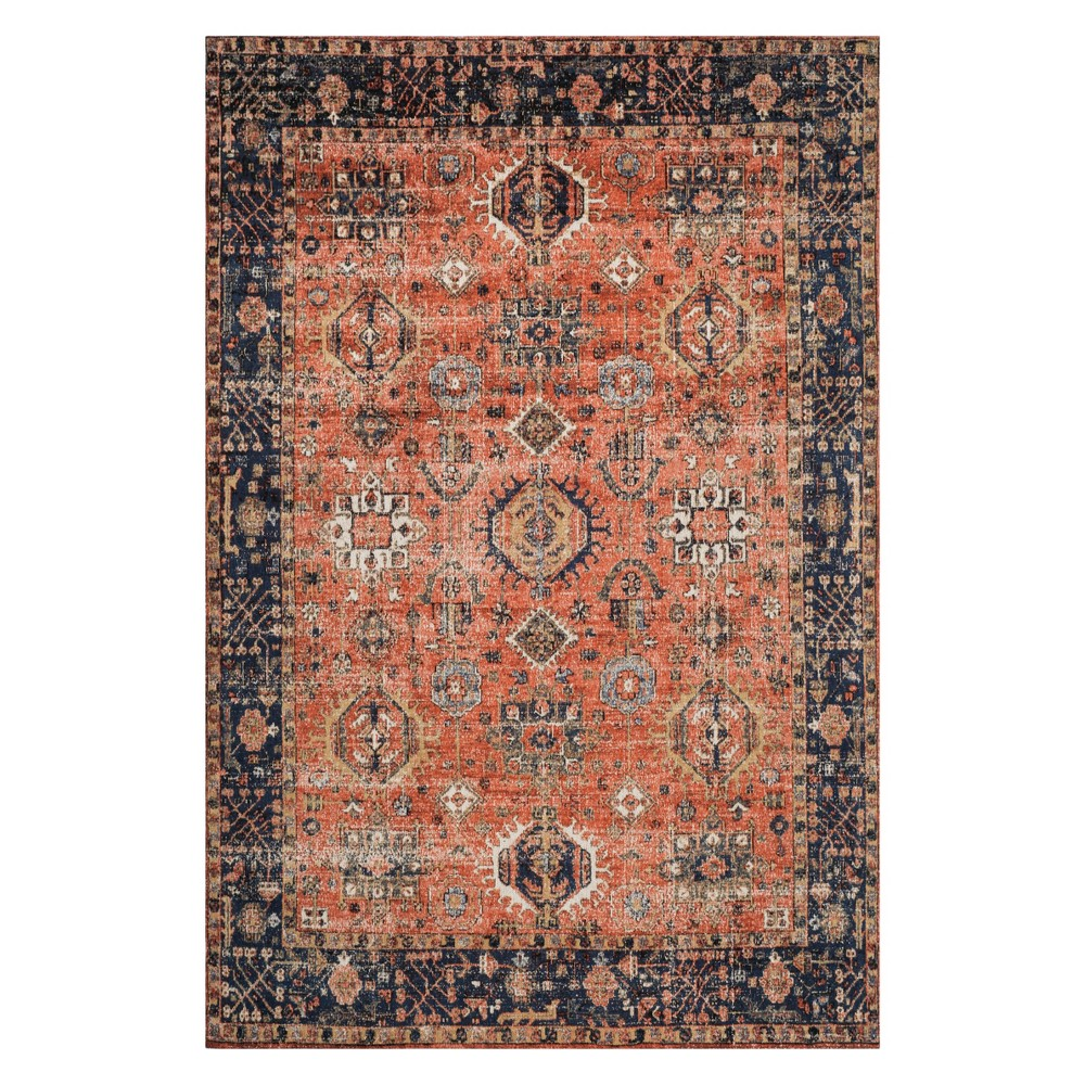 6'X9' Shapes Loomed Area Rug Rust/Navy - Safavieh, Red