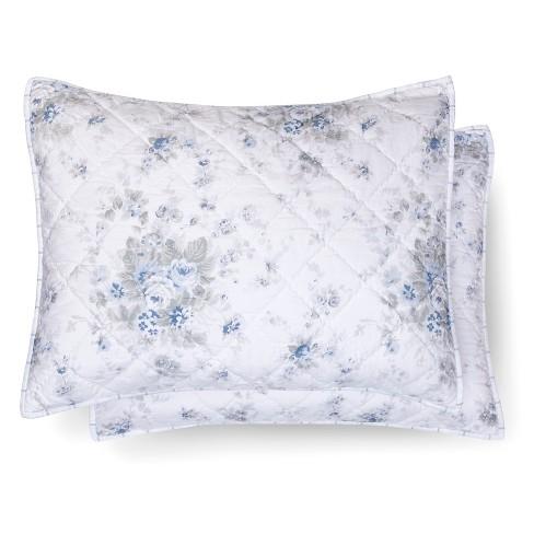 Blue Amp White Shadow Rose Pillow Sham Simply Shabby Chic