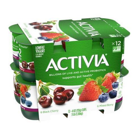 Dannon Activia Mixed Berry/Black Cherry Probiotic Yogurt - 12pk/4oz cups - image 1 of 1