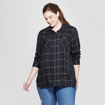 6a9191c7972e3 Women s Plus Size Plaid Long Sleeve Collared Button-Down Shirt - Ava   Viv™