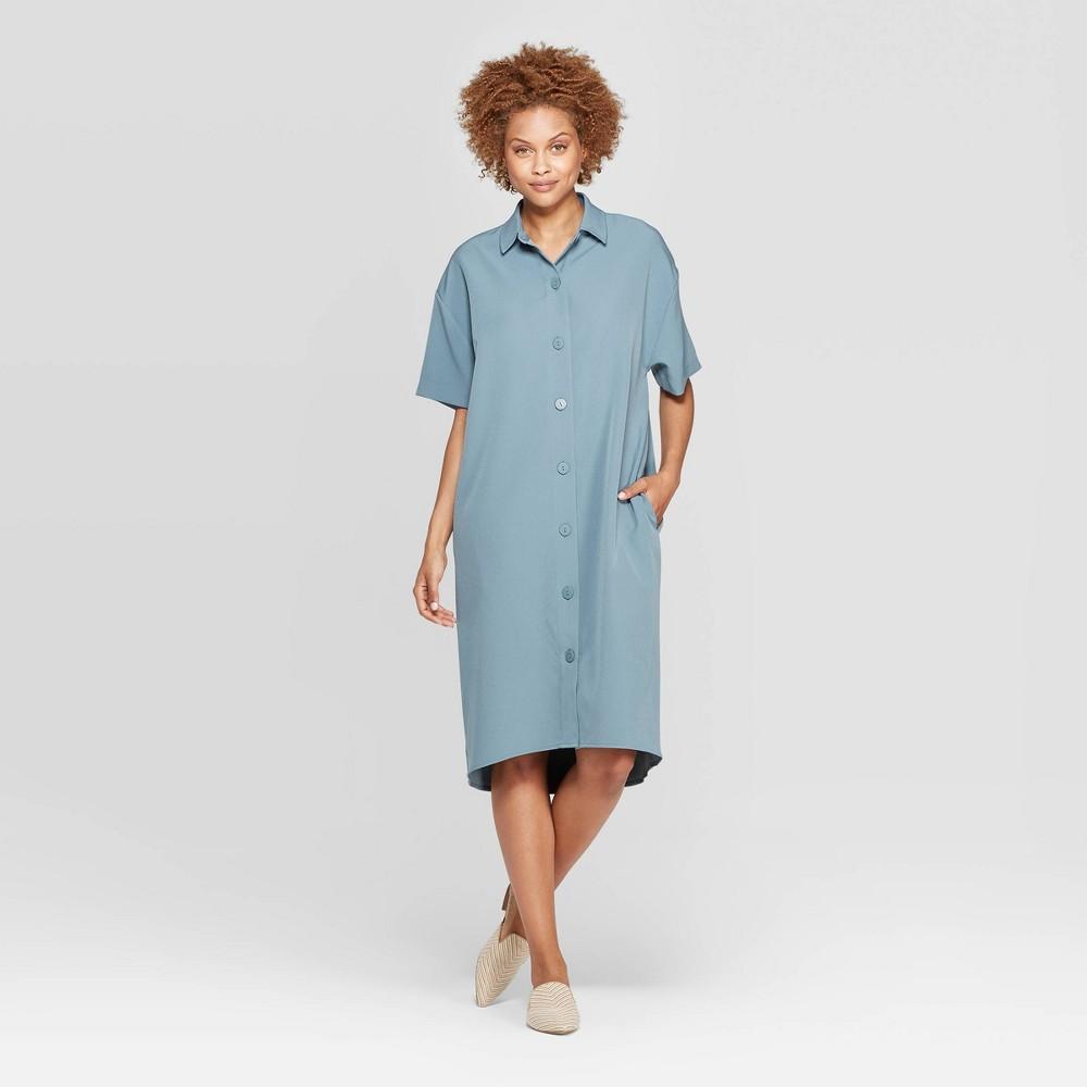 Women's Short Sleeve Collared Shirtdress - Prologue Blue M